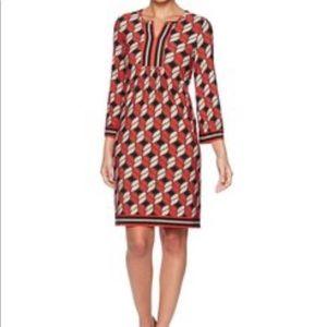 EUC Ruby Rd Geo Puff Border Dress Size Large